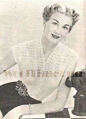 "Fit 33/"" Bust  FREE UK P/&P Vintage Knitting Pattern Lady/'s Lace /& Ribbing Jumper"