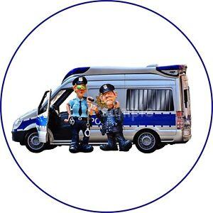 Polizei-blau-Polizist-Bus-Bulli-Essbar-Tortenaufleger-NEU-Party-Deko-Geburtstag