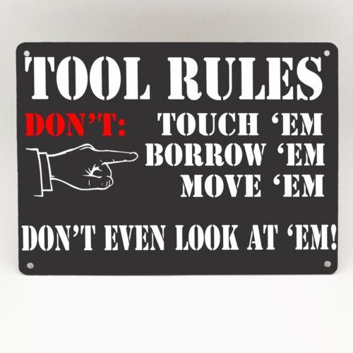 TOOL RULES METAL SIGN FUNNY RETRO VINTAGE Garage Man cave Shed Dad Workshop Gift