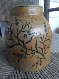 ANTIQUE Hand Painted CANNING JAR Stoneware CROCK Blue FLOWERS Salt Glazed RARE!