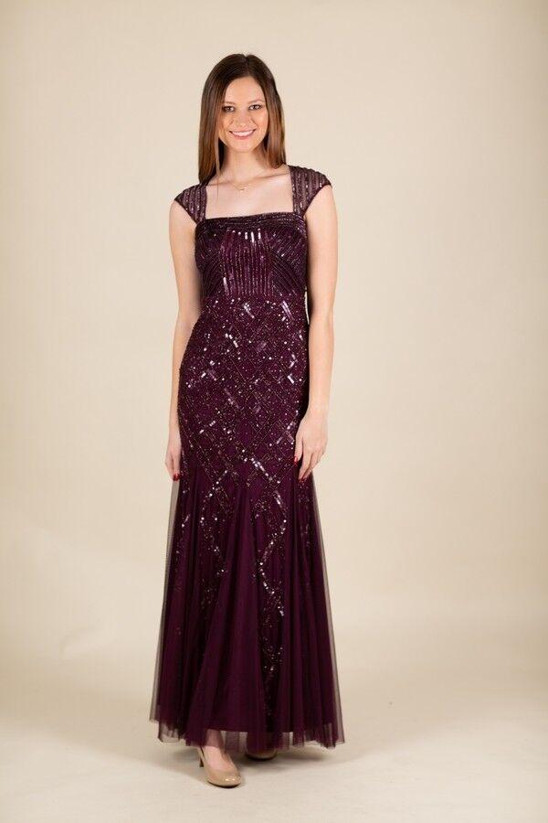 Púrpura oscuro con cuentas  ADRIANNA PAPELL Largo Baile de graduación Vestido Talla 4  salida para la venta