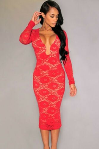 Sz 8 10 Black Lace Long Sleeve Bodycon Prom Cocktail Party Slim Fit Midi Dress