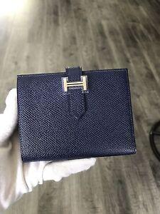 07ea9341dea3 Image is loading 100-Authentic-Hermes-Mini-Bearn-Sapphire-Blue-Wallet-