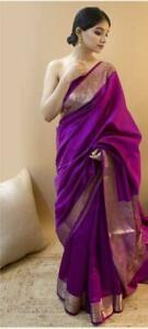 Kanchipuram-Silk-Designer-Saree-Indian-Ethnic-Wear-Sari-Blouse-Traditional-KP
