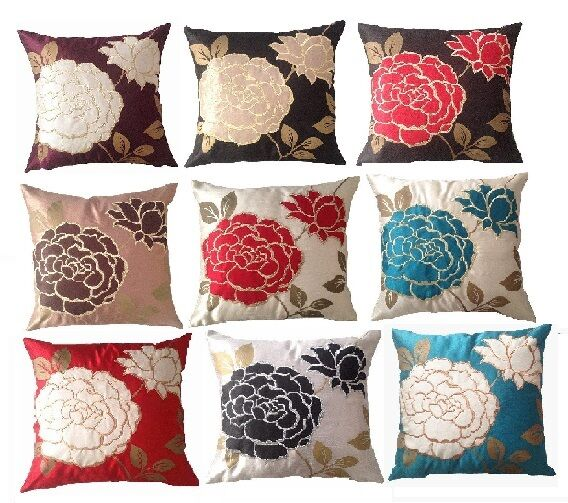 LUXURY FRESCO EMBROIDERED FLORAL LEAF PILLOW CASE 18