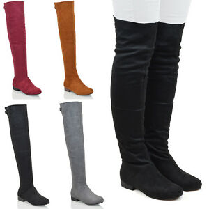 WOMENS OVER THE KNEE FLAT LOW HEEL CUT OUT ZIP LADIES TALL THIGH HIGH BOOTS SIZEw Cool