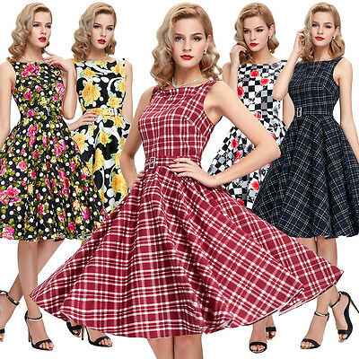50'S 60'S DRESS Floral GRID Vintage Style Swing Housewife Party Dress