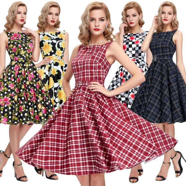 CHEAP! Vintage Retro 50's 60s Swing Pinup Housewife Party Prom Summer Dress