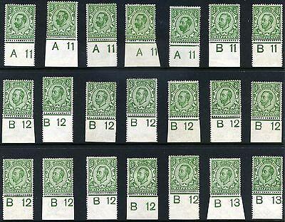 1911-13 KGV Downey Head ½d Control Singles SG 322, 325, 339, 346, 344