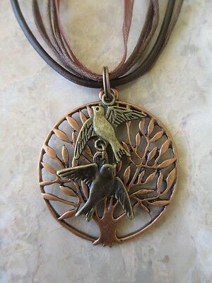 Copper Wicca Tree of Life with Bronze Love Birds Leather & Ribbon Necklace