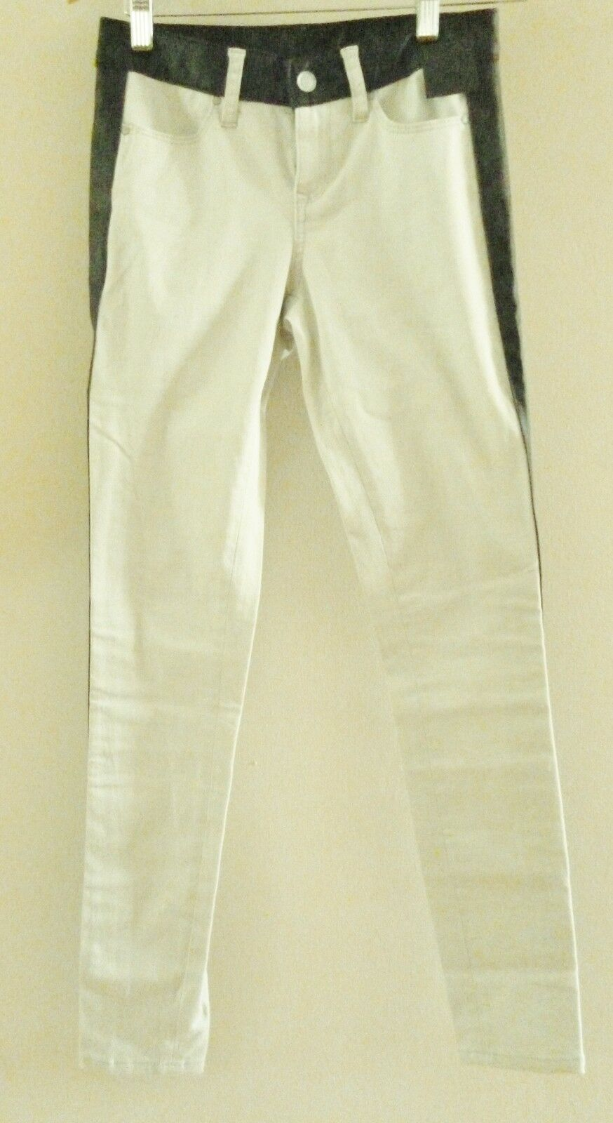 New Club Monaco Lillian Pants Isle White with PU  Leather Trims Size 0