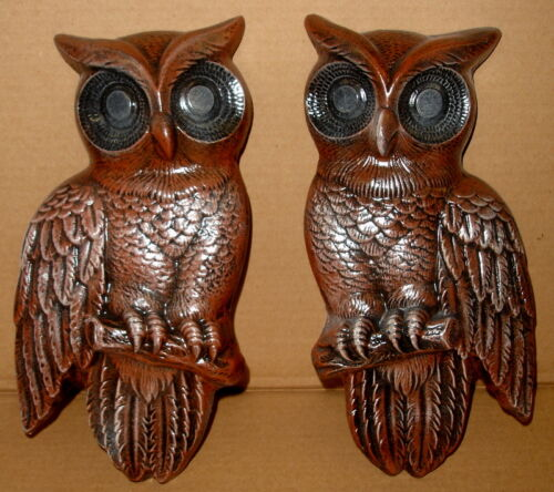 "11"" Pair Vintage Owl Wall Plaque Hanging Home Decor Limited Addition 2440809"