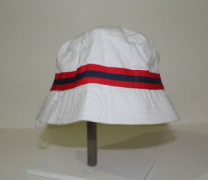 Gymboree Baby Boy Red Blue Stripe Trim White Bucket Sun Hat NWT Size ... b7ec269f1d2