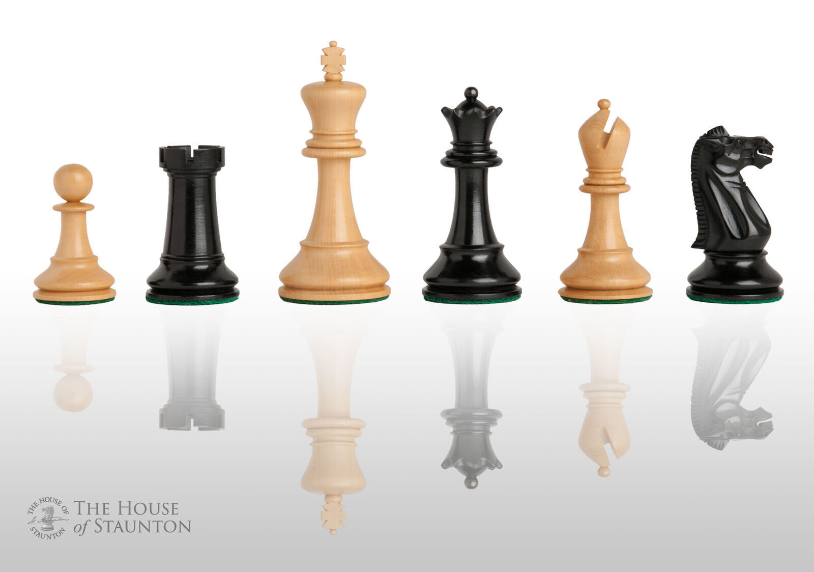 Reproduction of The Circa 1940 Jaques Chess Set - Pieces Only - 4.0  King - Ebon