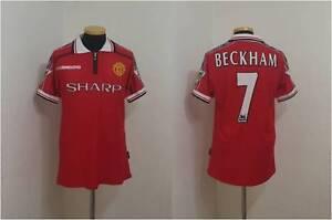 (l) Manchester Shirt Jersey Treble Beckham Real Madrid Ac Milan-afficher Le Titre D'origine TrèS Poli