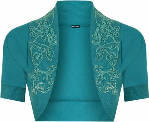 New Womens Ladies Bolero Short Sleeves Cropped Cardigan Open Short Shrug Top