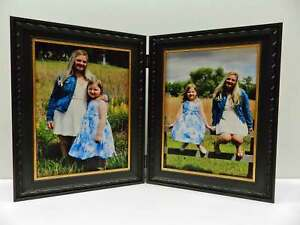 8x10 Black Gold Double Hinged Vertical Wood Photo Picture Frame