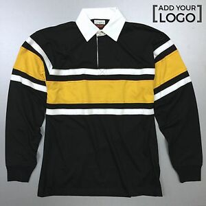 549a892ec30c9 Image is loading Hard-Wearing-Long-Sleeve-Rugby-Shirts-Black-Yellow-