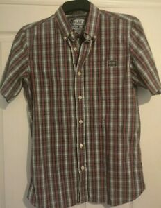 Superdry-Mens-Short-Sleeve-Check-Shirt-Size-Large-smart-casual-ware