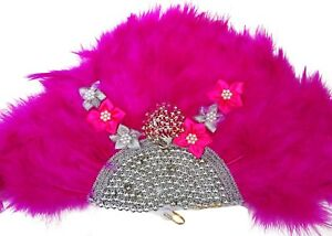 Belle-Bold-Rose-Chaud-Plumes-Embelished-avec-perles-accessoire-mariage-eventail-a-la-main