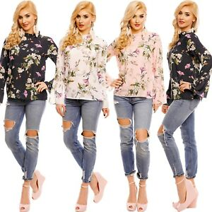 Damen-Bluse-Tunika-Shirt-Blumenmuster-Trompetenaermel-Volants-Chiffon-S-34-36-38
