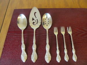 IS-BEVERLY-MANOR-Set-of-3-Serving-amp-3-Cocktail-Rogers-Silverplate-Flatware-Lot-Z