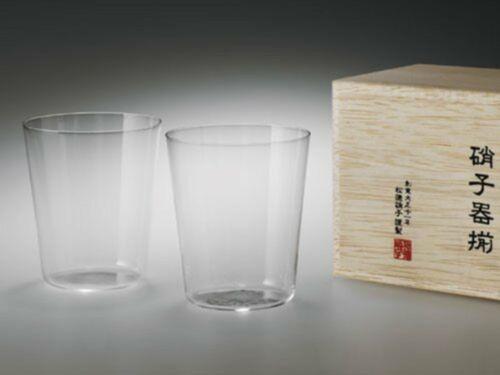 Usuhari Shotoku Altmodisch Glas M W / Holz Box 280ml Set Mit 2 F/S W/Rennbahn #