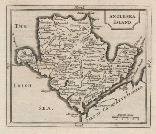 Francis Grose Antique map of Anglesea Island by John Seller Anglesey c1780