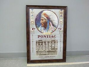 1931-PONTIAC-Indian-Head-Framed-Wall-Calendar-GM-CANADA-Advertising-Original