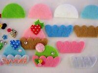80 Diy Felt Cupcake Applique/craft/trim/cup Cake/bow/pink/green/blue/white H366