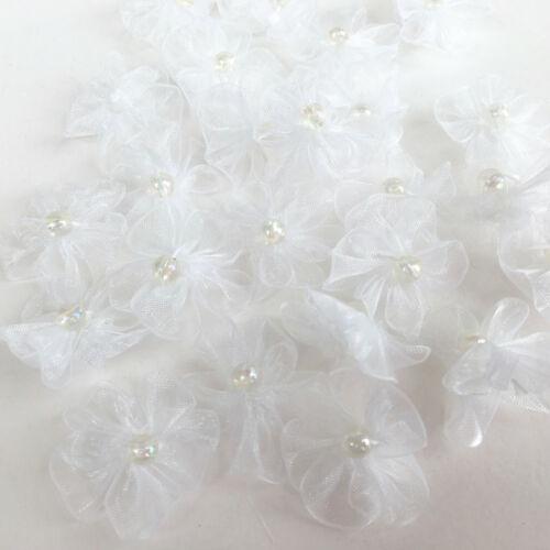 Blanco O Crema De Gasa Con Moño con irridescent grano centro 25mm por 5 Arcos