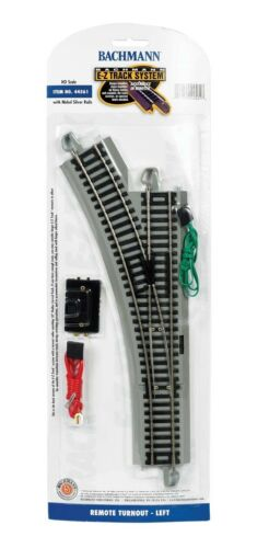 Bachmann HO Scale Nickel Silver//Gray Roadbed EZ-Track LH Remote Turnout Switch