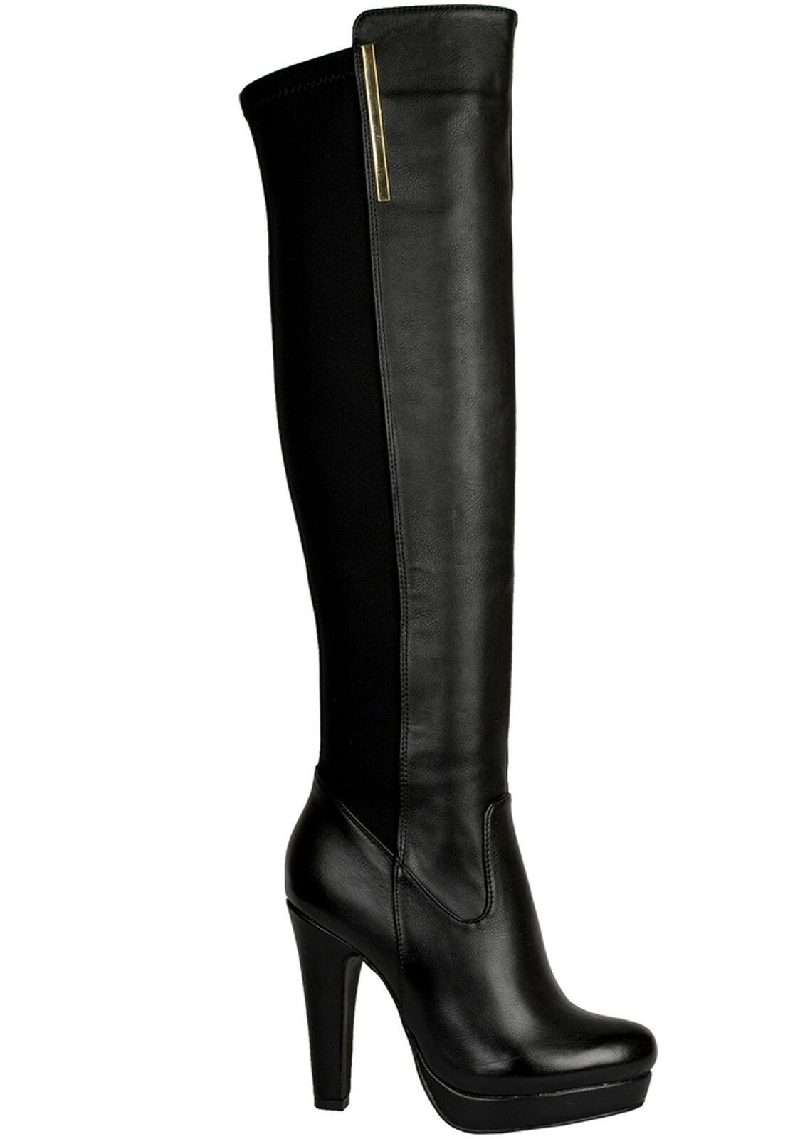 Valentin High Black Strech Fashion Boots with Gold Detail