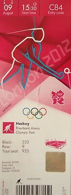 Ticket Olympic 9/8/2012 Men's Hockey Australia Vs Germany # C84 London 2012