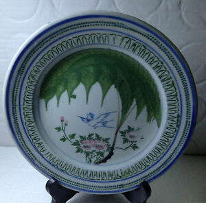A-Very-Old-HAND-PAINTED-BIRD-amp-FLOWER-MOTIF-PORCELAIN-PLATE-18-3cm