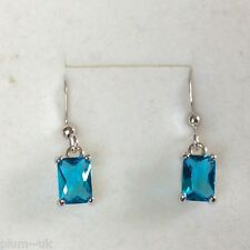 Y27 Emerald Cut Aquamarine gems Silver Drop Dangle Earrings (White Gold GF) BOXD