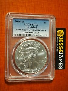 2016-W-BURNISHED-SILVER-EAGLE-PCGS-SP69-30TH-ANNIVERSARY-LE-CLASSIC-BLUE-LABEL