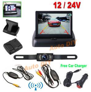 "Wireless IR Reverse Backup Camera 4.3/"" Foldable Monitor Car Rear View Kit 12V"