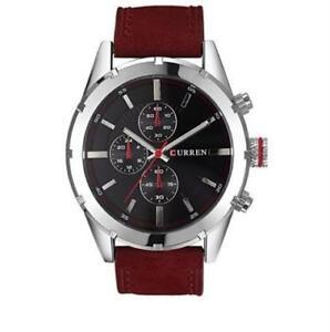 Curren-8154-Men-039-s-Leather-Watch-Maroon-Black-dial