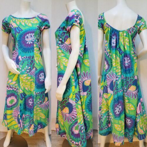 Vintage 60's ALDENS Bright Flower Power Print Dres
