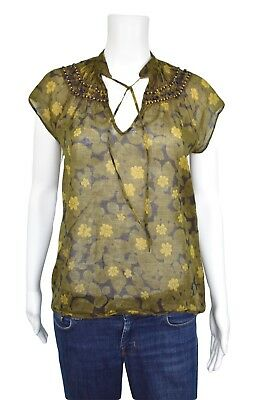 Theory Womens Blouse Size L Green Floral Wood Beads Cotton Short Sleeve Mod