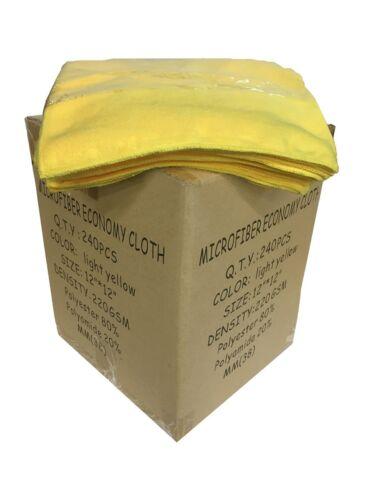 "240 Case 12/""x12/"" Economy Grade Microfiber Cleaning Cloths//Auto 220GSM Yellow"