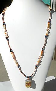 PEACHES-FLAMBE-034-Necklace-Lampwork-crystal-Czech-glass-Copper-25-034