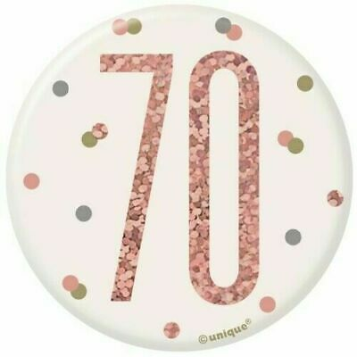 """3/"""" White /& Rose Gold Pin Badge Age 70 70th Birthday Accessories"""