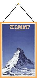 Zermatt Matterhorn Tin Sign Shield with Cord 20 X 30 CM CC0768-K