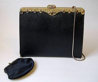 Vintage Black Gold Metal Rhinestone Evening Bag Clutch Handbag With Coin Purse