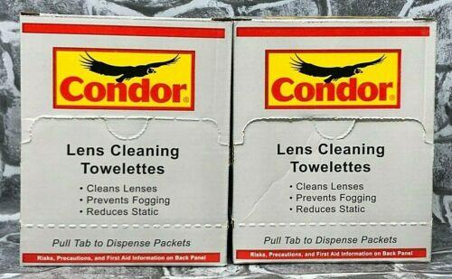 2 Pack Condor 44X059 pre-humedecer toallita de limpieza de lente antivaho antiestática Nuevo