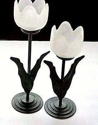 Spring Flower Table Centerpiece Set of 2 Tulip Candle Holders Vintage Ceramic Glass Candleholder Pink and Yellow flower tea light Holder