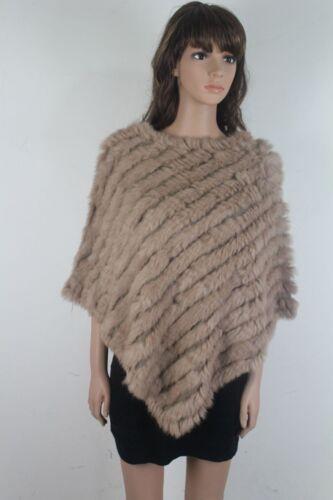Faux Rabbit Fur Poncho Knitted Jacket Coat Scarf Shawl Elegant Round Neck Parka