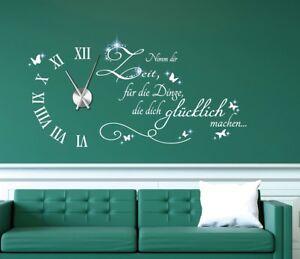 Details Zu Wanduhr Wandtattoo Uhr Wohnzimmer Wandsticker Uhrwerk Mit Kristallen Pkm471